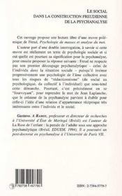 Le Social Dans La Construction Freudienne De La Psychanalyse - 4ème de couverture - Format classique