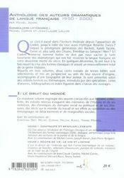 Anthologie Des Auteurs Dramatiques De Langue Francaise De 1950 A 2000 Vol 3 - 4ème de couverture - Format classique