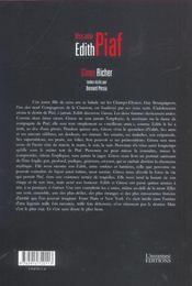 Mon Amie Edith Piaf - 4ème de couverture - Format classique