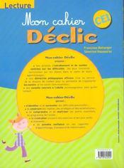 Lecture ; CE1 - 4ème de couverture - Format classique