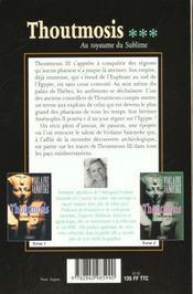 Thoutmosis T.3 ; Au Royaume Du Sublime - 4ème de couverture - Format classique