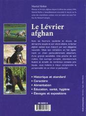 Le lévrier afghan - 4ème de couverture - Format classique
