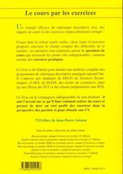 Statistique Descriptive - 4ème de couverture - Format classique