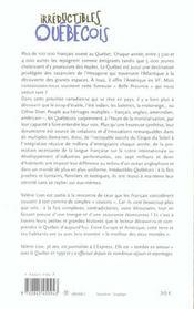 Irreductibles Quebecois - 4ème de couverture - Format classique