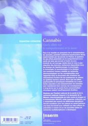 Cannabis ; quels effets sur le comportement et la santé ? - 4ème de couverture - Format classique