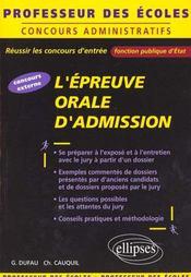 L'Epreuve Orale D'Admission Concours Externe - Intérieur - Format classique