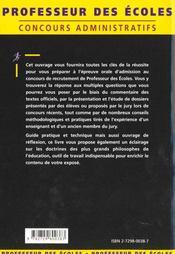 L'Epreuve Orale D'Admission Concours Externe - 4ème de couverture - Format classique