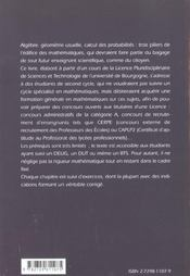 Quelques Questions D'Algebre Geometrie Et Probabilites - 4ème de couverture - Format classique