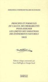 Principes et formules de calcul des probabilités pour assigner les limites des variations des évènements naturels (1813) - Couverture - Format classique