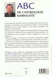 Abc de l'astrologie kabbaliste - 4ème de couverture - Format classique