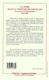 La Mode Dans La Coiffure Des Francais ; La Norme Et Le Mouvement, 1837-1987 - 4ème de couverture - Format classique