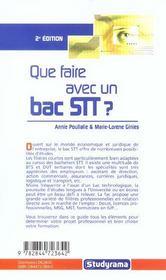 Que Faire Avec Un Bac Stt ? 2e Edition - 4ème de couverture - Format classique