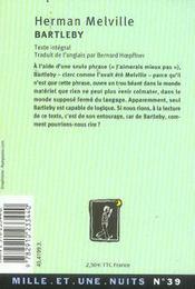 Bartleby - 4ème de couverture - Format classique