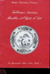 Tableaux Anciens Et Objets D'Art - Mercredi 9 Mars 1988 - Couverture - Format classique