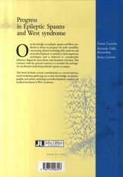 Progress in epileptic spasms and west syndrome/progrès dans les spasmes épileptiques et le syndrome - 4ème de couverture - Format classique