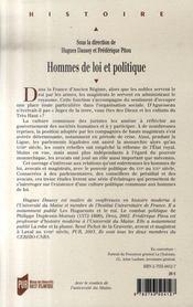 Hommes de loi et politique, xvi-xviii siècles - 4ème de couverture - Format classique
