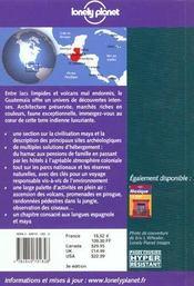Guatemala ; 3e Edition - 4ème de couverture - Format classique
