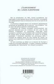 L'élargissement de l'Union Européenne - 4ème de couverture - Format classique