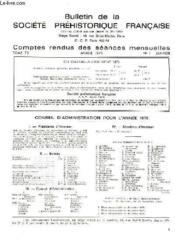Bulletin De La Societe Prehistorique Francaise - Comptes Rendus Des Seances Mensuelles - Annee 1976 - Tome 73 - N°1 - Couverture - Format classique