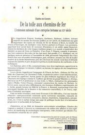 De la toile aux chemins de fer ; l'extension nationale d'une entreprise bretonne au xix siècle - 4ème de couverture - Format classique