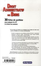 Droit Administratif Des Biens ; Premier Cycle ; 30 Fiches De Synthese Pour Preparer Les Td Et Reviser Les Examens(2e Edition) - 4ème de couverture - Format classique