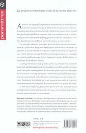 La gestion environnementale et la norme ISO 14001 - 4ème de couverture - Format classique