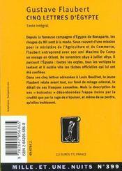 Cinq lettres d'Egypte - 4ème de couverture - Format classique
