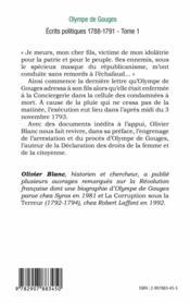Ecrits Politiques T1 1788 1791 - 4ème de couverture - Format classique