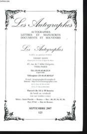Catalogue N° 123. Autographes, Livres Et Manuscrits, Documents Et Souvenirs. - Couverture - Format classique