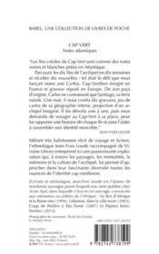 Cap-Vert, Notes Atlantiques Babel 537 - 4ème de couverture - Format classique