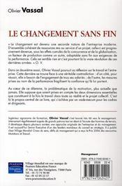 Le changement sans fin - 4ème de couverture - Format classique