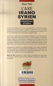L'axe irano-syrien - 4ème de couverture - Format classique