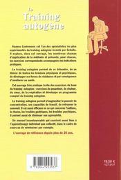 Training Autogene (Le) - 4ème de couverture - Format classique