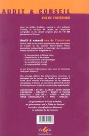Audit Et Conseil Vus De L'Interieur - 4ème de couverture - Format classique