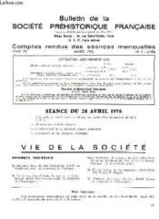 Bulletin De La Societe Prehistorique Francaise - Comptes Rendus Des Seances Mensuelles - Annee 1976 - Tome 73 - N°4 - Couverture - Format classique