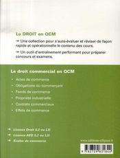 Le droit commercial en qcm - 4ème de couverture - Format classique