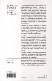 Au nom du seigneur ; la religion au crible de l'évolution - 4ème de couverture - Format classique