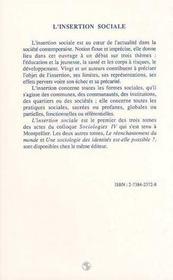 L'Insertion Sociale - 4ème de couverture - Format classique