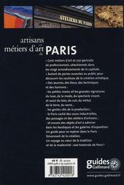 Artisans et métiers d'Art de Paris - 4ème de couverture - Format classique
