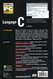 Pc Poche Langage C - 4ème de couverture - Format classique