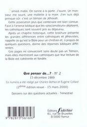 Les Temoins De Jehovah. 2e Edition Revue - 4ème de couverture - Format classique