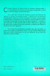 Interactions et discours professionnels. usages et transmission. 7 - 4ème de couverture - Format classique