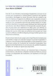 La Crise De Confiance Hospitaliere Constat - Causes - Reformes - 4ème de couverture - Format classique