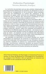 La recherche documentaire ; manuel à l'ausage des étudiants, doctorants et jeunes chercheurs - 4ème de couverture - Format classique