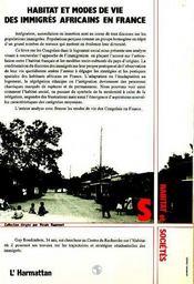 Habitat Et Modes De Vie Desimmigres Africains En Franc - 4ème de couverture - Format classique