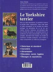 Le Yorshire Terrier - 4ème de couverture - Format classique
