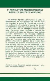 Agriculture Mediterraneennedans Les Rapports Nord-Sud - 4ème de couverture - Format classique