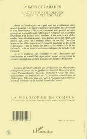 Mimes Et Parades ; L'Activite Symbolique Dans La Vie Sociale - 4ème de couverture - Format classique