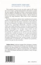 Etienne-Martin Et Mario Merz ; Des Demeures Et Des Igloos ; Primitivisme Et Dimension Anthropologique - 4ème de couverture - Format classique
