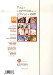 Place de la prévention dans la politique de santé. 7e journée d'économie de la santé, 31 mai 2006 - 4ème de couverture - Format classique